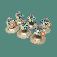 SIX German Sterling and Porcelain Place Card Holders ~ Baskets Filled with Colorful Flowers and Resting on a Flora Engraved Sterling Plateau