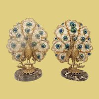 Czechoslovakian Peacock Lamps ~ A Fabulous Pair ~ Left and Right Matching Peacocks Lamps on Marble Plinths