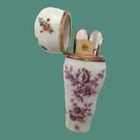 "Antique Porcelain Necessaire Etui ""12Karat"" ~ Beautiful Purple Transfer and Pastoral Scene"