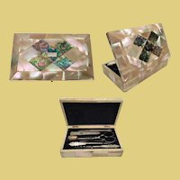 Antique Mother of Pearl and Abalone Etui ~ A Seven Piece Exquisite Etui Set ~ LUSCIOUS  Mother of Pearl w Abalone and Silver Top