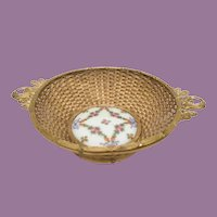 19C  French Gilt Woven Bronze Basket w  Porcelain Plaque Bowl ~ Exquisite Porcelain Plaque Bowl w Flower Swags and Bows