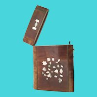 19C Faux Tortoise Shell Card Case with Mother of Pearl  ~ Great Display Piece