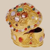 French Jeweled Bronze Casket Hinged Box Covered in Bezel Set Hard Stones that Include Striped Agate, Moonstone, Carnelian, Blood Stones, and Green Stones. Exquisite Shape Dome Top