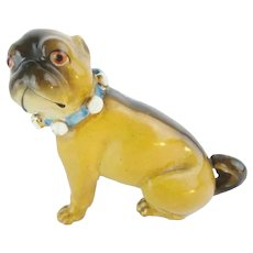 """Antique 3"""" Porcelain German Pug """"BLUE BOW"""""""