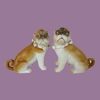 """PAIR 6"""" Antique PUGS from Conte & Boehm """"Sassy Collars & Bells"""" ~ YES A PAIR!"""