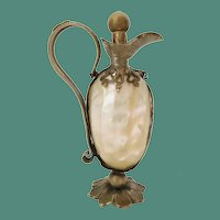 Antique French Mother of Pearl Perfume  ~ Pretty  Gilt Ormolu Handle w a Flower
