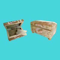 19C Mother of Pearl Needle Box and Mother of Pearl Gaming Token
