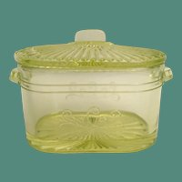 Beautiful  Green Yellow Covered Mustard Glass Box with Double Handles