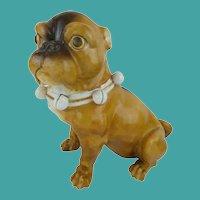 """Antique 9""""  PUG  ~ Conte & Boehm Cold Paste Porcelain"""