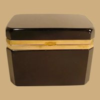 French Black Opaline Hinged Box ~ Beautiful Smooth Gilt Mounts and Lift Clasp