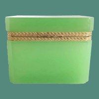 Rare French Green Opaline Casket Hinged Box  ~ Beautiful Ornate Gilt Mounts