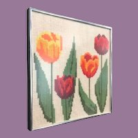 Beautiful Tulip Needlepoint Framed. Colorful Tulips ~ Silver Metal Frame  ==CLOSEOUT==
