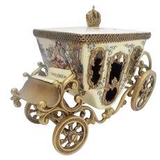 Antique Austria Vienna Enamel Miniature Coach ~ Pastoral Couple, Lambs and Dog