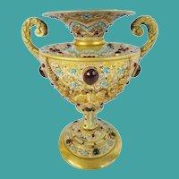 Antique Austrian Jeweled Bronze Double Handle Enamel Urn ~ A JEWELED MASTERPIECE~ EXQUISITE
