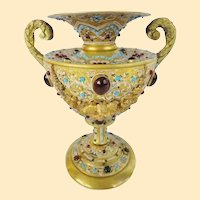 Antique Austrian Jeweled Bronze Double Handle Enamel Urn ~ A JEWELED MASTERPIECE~ EXQUISITE