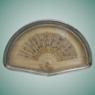 Antique French Framed Lace Fan ~  Exquisite Jeweled Fan is  Framed in an Stunning Gilt Silver  Frame