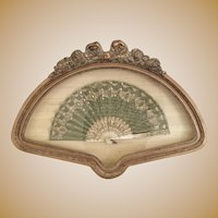 Antique French Framed Lace Fan. A Very Grand  Jeweled Pale Green Fan ~ Framed in an Stunning Gold Gilt Bow Top  Frame ~ A MASTERPIECE Fan & Masterpiece Frame