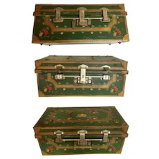 Antique Painted Metal Trunk with Flowers by Columbia  ~ Wonderful Green Painted Trunk  ~ Unique Locking System