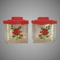 KILLER  1950 Glass Brick Block Canisters w Red Roses & Red Plastic Tops ~ Wonderful Condition