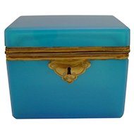 Pretty Antique French Blue Opaline  Casket Hinged Box  ~ AS IS