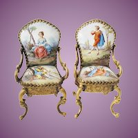 LOVELY Pair Antique Vienna Enamel Miniature Chairs ~ Wonderful Quality