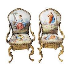 Pair Antique Vienna Enamel Miniature Chairs