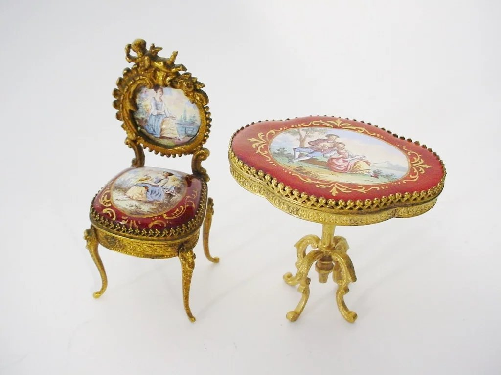 Very fine antique viennese enamel miniature chair and for Transmutation table 85 items
