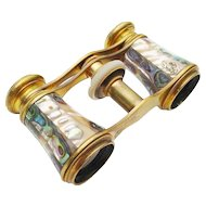 "Antique French Abalone Opera Glasses ""Chevaller Optigien Paris  """