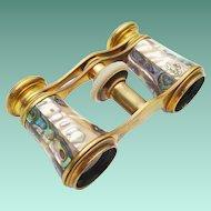 "Antique French Abalone Opera Glasses ""CHEVALLLER OPTIGIEN PARIS """