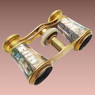 "Antique French Abalone Opera Glasses ""Chevaller Optigien Paris  """