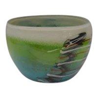Vintage Estate Art Glass Bowl from American Studio ~ Artist Signed