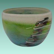 Vintage Estate Art Glass Bowl from American Studio…Artist Signed