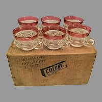 12 Indiana Colony Glass Clear Ruby Flash Band Kings Crown Cups ~   Original Shipping Cardboard Box