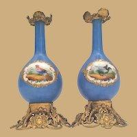 "Palais Royal Blue Porcelain Palais Royal ""BIRDS"" Perfume  ~  Magnificent Gilt Ormolu"