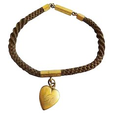 """1860 Pinchbeck Mourning Hair 7 ¼"""" Bracelet Heart Pendant ~  Monogrammed """"L"""" on one side and """"B"""" on the other side."""