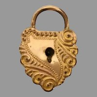 Antique Gold Puffy Heart Lock