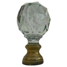 Very Fine Antique French Cut Crystal Newel Post Boule Escalier w Bronze Mounts ~ WELL CUT