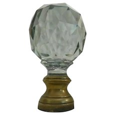 "7 ½"" Antique French Crystal Newel Post Finial ""Boule Escalier""  Resting in Original Bronze Mounts"