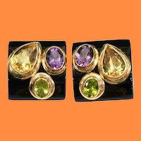 14KARAT Black Onyx with Amethyst, Peridot, and Citrine Gemstone Earrings