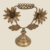 """Antique French Bronze Jeweled Stand  ~ Two JEWELED 2 ¼"""" Flowers"""