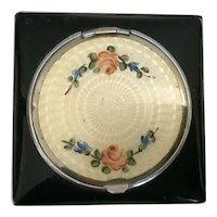 STUNNING Black Enamel Compact  ~ Delicate Sweet Flowers on a Cream Enamel Center