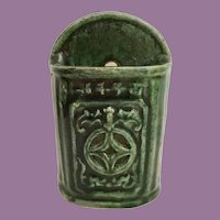 Antique Green Chinese Wall Pocket Chopstick Holder