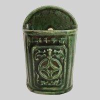 Antique Green Chinese Wall Pocket Chopstick Holder