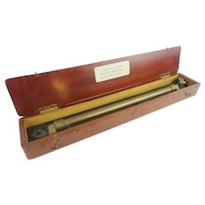 Antique English Navigator's Roller Ruler ~ Original Mahogany Wood Box