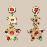 "Wild and FUN Jeweled Clip Earrings  ""STARS'"