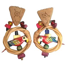 "Wild and Crazy ""PARROT""  Clip Earrings ~  Wood, Clay, Beads and Straw"