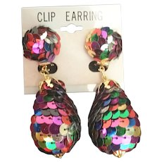 "Wild and Crazy Multi Color Sequin   ""MASTERPIECE"" Clip Earrings"