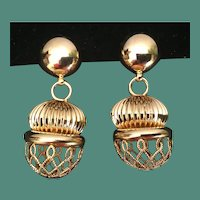 """Wild and Crazy Brass  """"GOLD FANTASY  BALLS""""  Clip Earrings"""