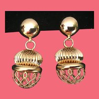 "Wild and Crazy Brass  ""GOLD FANTASY  BALLS""  Clip Earrings"