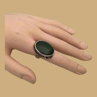 Beautiful Vintage Estate Silver Green Hardstone Ring